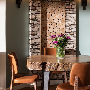 Photo Of A Medium Sized Rustic Dining Room In Cornwall With Grey Walls And  Medium Hardwood