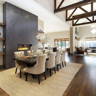 Great room - large mediterranean dark wood floor great room idea in San Francisco with white walls, a ribbon fireplace and a tile fireplace