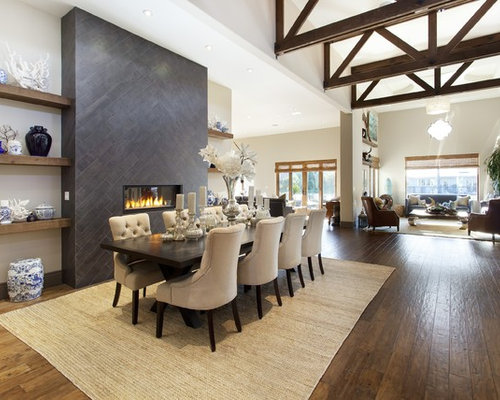 Large Mediterranean Dark Wood Floor Great Room Idea In San Francisco With White Walls A