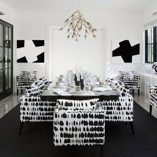 Dining room - contemporary dining room idea in New York with white walls