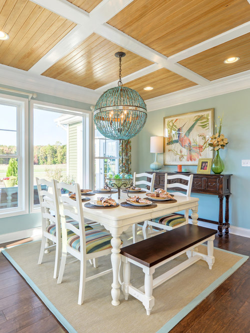 Inspiration For A Mid Sized Beach Style Medium Tone Wood Floor Dining Room  Remodel In Part 45