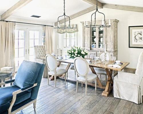 Sala da pranzo shabby chic style con pareti beige foto for Case senza sale da pranzo