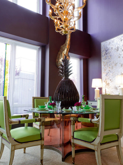 Contemporary Dining Room Idea In New York With Purple Walls