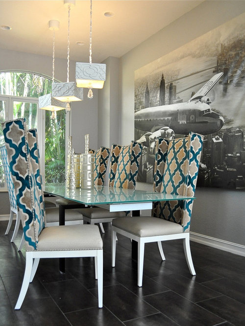 Inspiration For A Contemporary Dining Room Remodel In Kansas City With Gray Walls