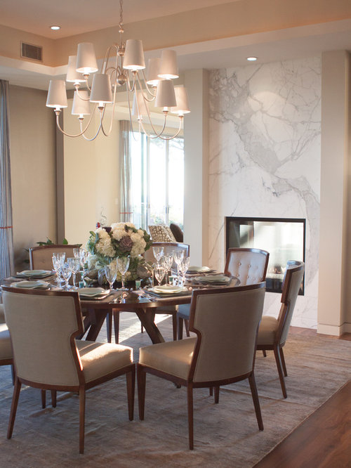 Great Large Trendy Dark Wood Floor Enclosed Dining Room Photo In Los Angeles With  Beige Walls,