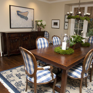 Example Of A Clic Dark Wood Floor Dining Room Design In Portland With Beige Walls