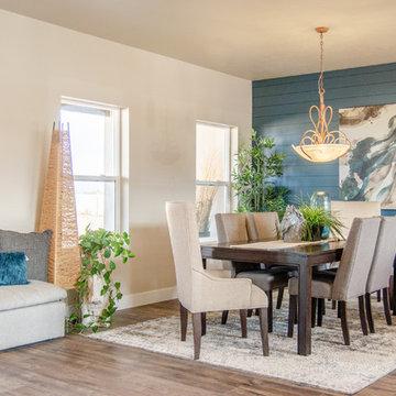 Dining room with a modern farmhouse twist on shiplap