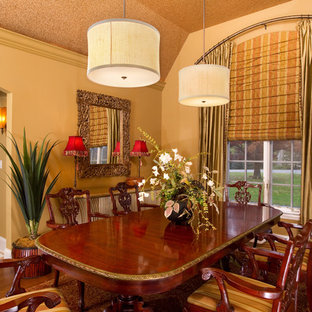 Dining Room with Draperies, Drum Chandeliers and Stained Wood Dining Table