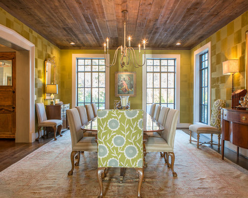 Country Enclosed Dining Room Photo In Atlanta With Green Walls Dark Hardwood Floors And Brown