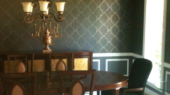 Dining Room with gray walls, plaster, Metallic stencil and ceiling