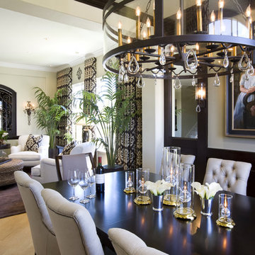 Dining Room with wood paneled wainscot and modern style