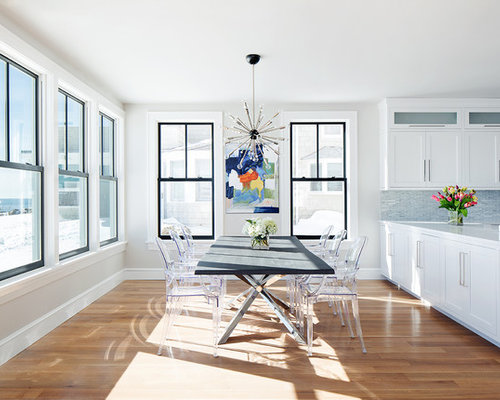 Transitional Medium Tone Wood Floor Kitchen/dining Room Combo Idea In New  York With White