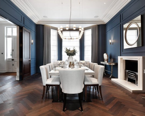 Nice Classic Enclosed Dining Room In London With Blue Walls, Dark Hardwood  Flooring, A Standard