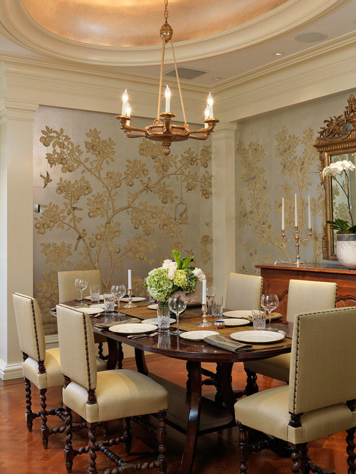 Elegant Dining Room Photo In Boston With Multicolored Walls And Dark