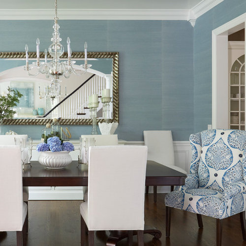 Inspiration For A Beach Style Dark Wood Floor And Brown Floor Dining Room  Remodel In Chicago