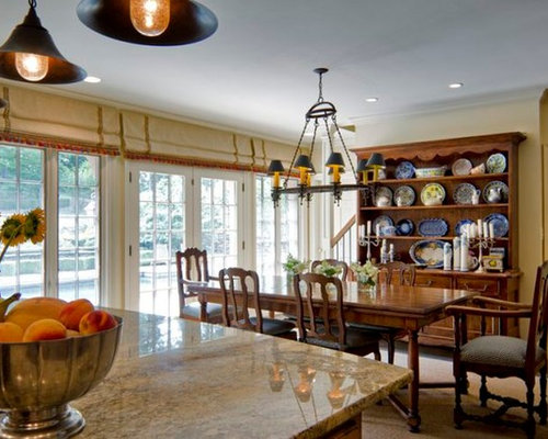 inspiration for a timeless kitchen dining combo remodel with yellow