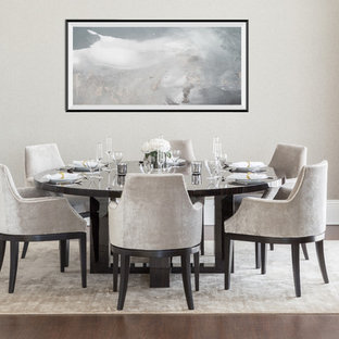 Design ideas for a contemporary dining room in London with grey walls, dark hardwood flooring and brown floors.