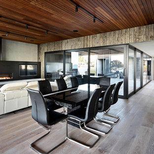 オークランドの広いビーチスタイルのおしゃれなダイニングキッチン (マルチカラーの壁、淡色無垢フローリング、横長型暖炉、金属の暖炉まわり、茶色い床) の写真