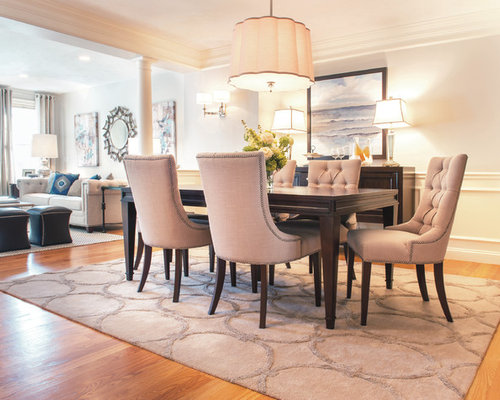 Transitional dining room photo in Boston with white walls