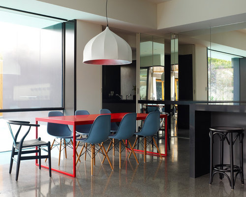 great room contemporary great room idea in melbourne - Trendy Dining Tables