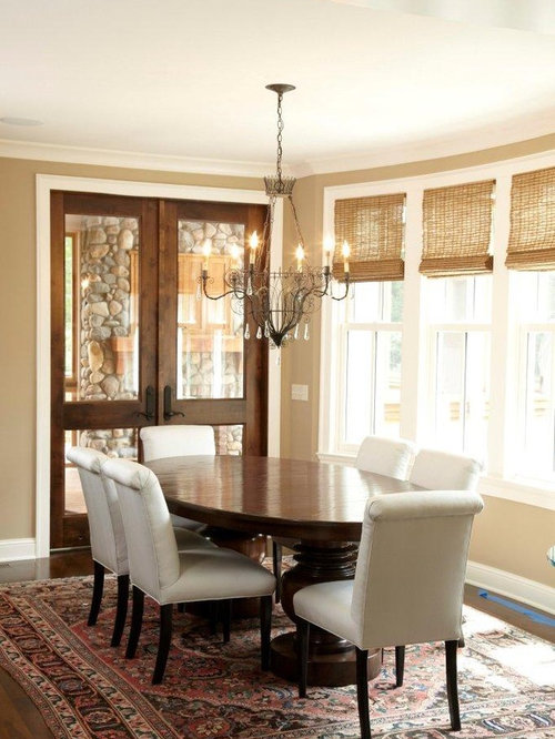 Inspiration For A Timeless Dining Room Remodel In Minneapolis With Beige Walls And Dark Hardwood Floors