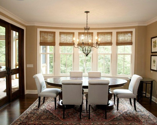 Traditional Dining Room Idea In Minneapolis With Beige Walls And Dark Hardwood Floors
