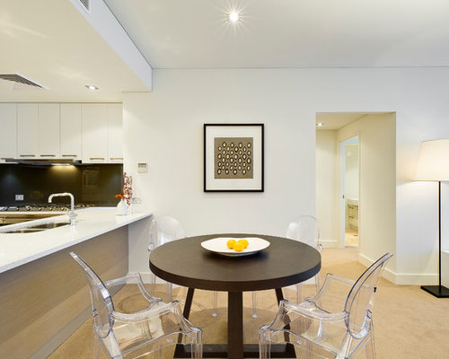 Trendy Dining Room Photo In Perth With White Walls