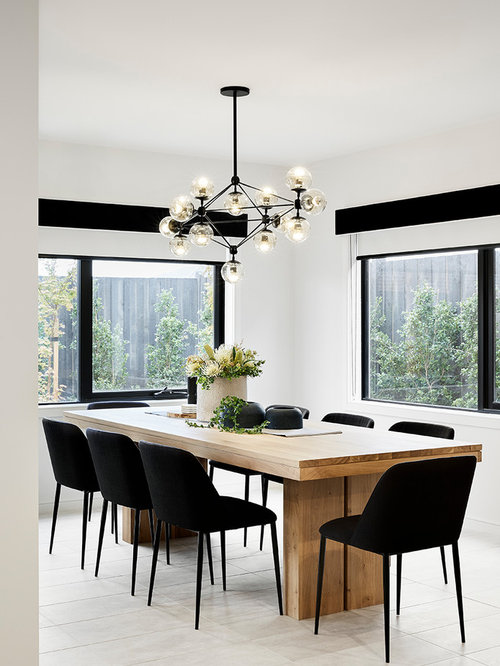 Design Ideas For A Modern Separate Dining Room In Melbourne With White  Walls And Beige Floor