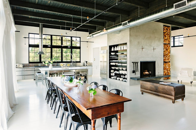 Industrial Dining Room by Emerick Architects