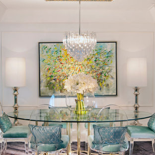 Eclectic dining room photo in Miami with white walls