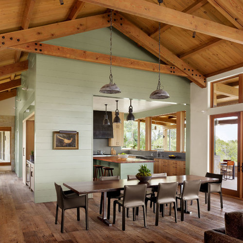 farmhouse dining room. Example of a country dark wood floor and brown great room design in  Austin with 11 Best Farmhouse Dining Room Ideas Decoration Pictures Houzz