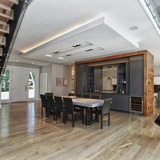 Foto di una grande sala da pranzo aperta verso il soggiorno design con pareti bianche, parquet chiaro, camino sospeso e cornice del camino in metallo