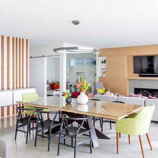 Ejemplo de comedor contemporáneo, de tamaño medio, abierto, con paredes blancas, suelo de cemento, chimenea lineal, marco de chimenea de hormigón y suelo gris