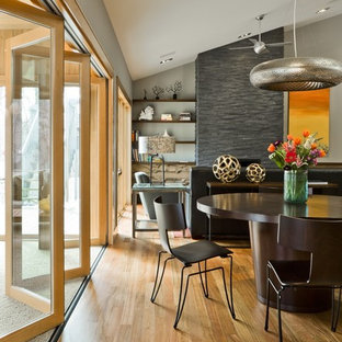 Inspiration for a contemporary medium tone wood floor great room remodel in New York with gray walls