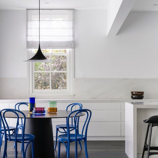 Inspiration for a contemporary kitchen/dining combo in Sydney with white walls, dark hardwood floors and black floor.