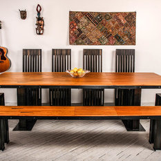 Our Signature Dovetail Gutterball Dining Table And Dovetail Gutterball  Bench In 57 Martin Stain + Our Classic Even Air Lilly Chairs In Coal Miner