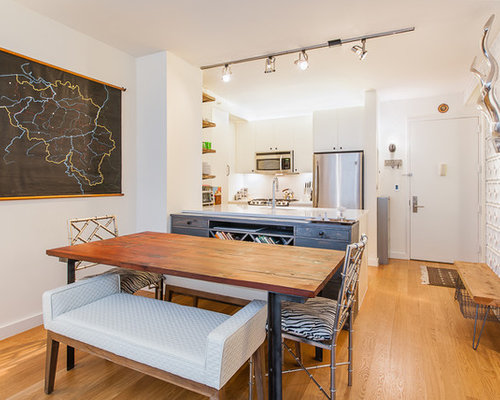 Inspiration For A Small Eclectic Light Wood Floor Kitchen Dining Room Combo Remodel In New