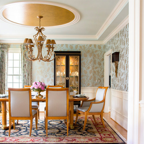 Example Of A Classic Enclosed Dining Room Design In Bridgeport With Blue Walls And Medium Tone