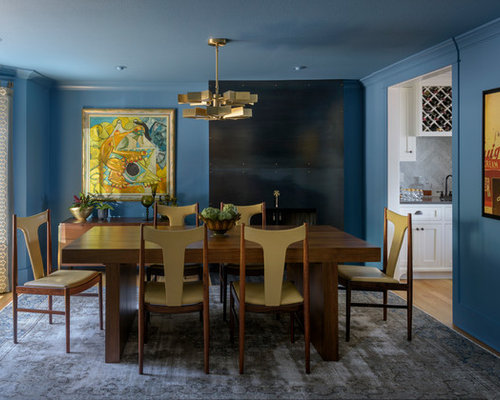 Example Of A Mid Sized Transitional Enclosed Dining Room Design In Portland  With Blue Walls