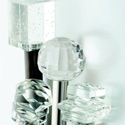 Drapery Hardware - The unique combination of glass and metal drapery hardware is a new award-winning design.