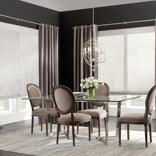 Esempio di una sala da pranzo shabby-chic style di medie dimensioni con parquet scuro, nessun camino e pareti grigie