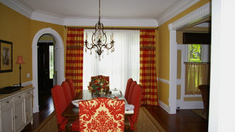Drapery with attached valance and trim on wood rod