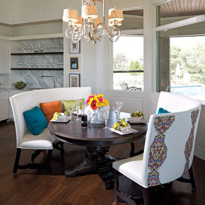 Dining room - contemporary dark wood floor dining room idea in Indianapolis with white walls