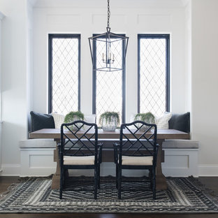 Transitional dark wood floor and brown floor dining room photo in Chicago with white walls