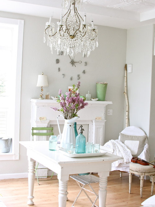 Cottage Chic Dining Room Photo In Other With Gray Walls And Medium