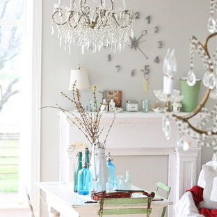 Example of a cottage chic dining room design in Other with gray walls