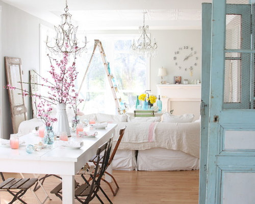Shabby Chic Style Medium Tone Wood Floor Dining Room Idea In Other With  Gray Walls