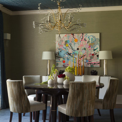 Inspiration for a mid-sized eclectic carpeted enclosed dining room remodel in New York with beige walls and no fireplace