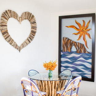 Photo of a nautical dining room in Santa Barbara with white walls and carpet.