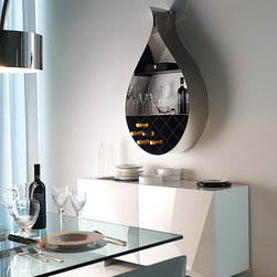 Drop Wall Wine Rack/Bookcase by Cattelan Italia - Drop Wall mounted wine rack/ Bookcase, Made by Cattelan Italia The Drop, As it is named shaped like a drop. Tells the true story of its functionality. offers internal diamond shaped wine rack and 2 shelves for day to day items display. Can be used as a kitchen, dining or study accessory for display and entertainment. Display your wine collection or decorative item display. Available in our showroom.